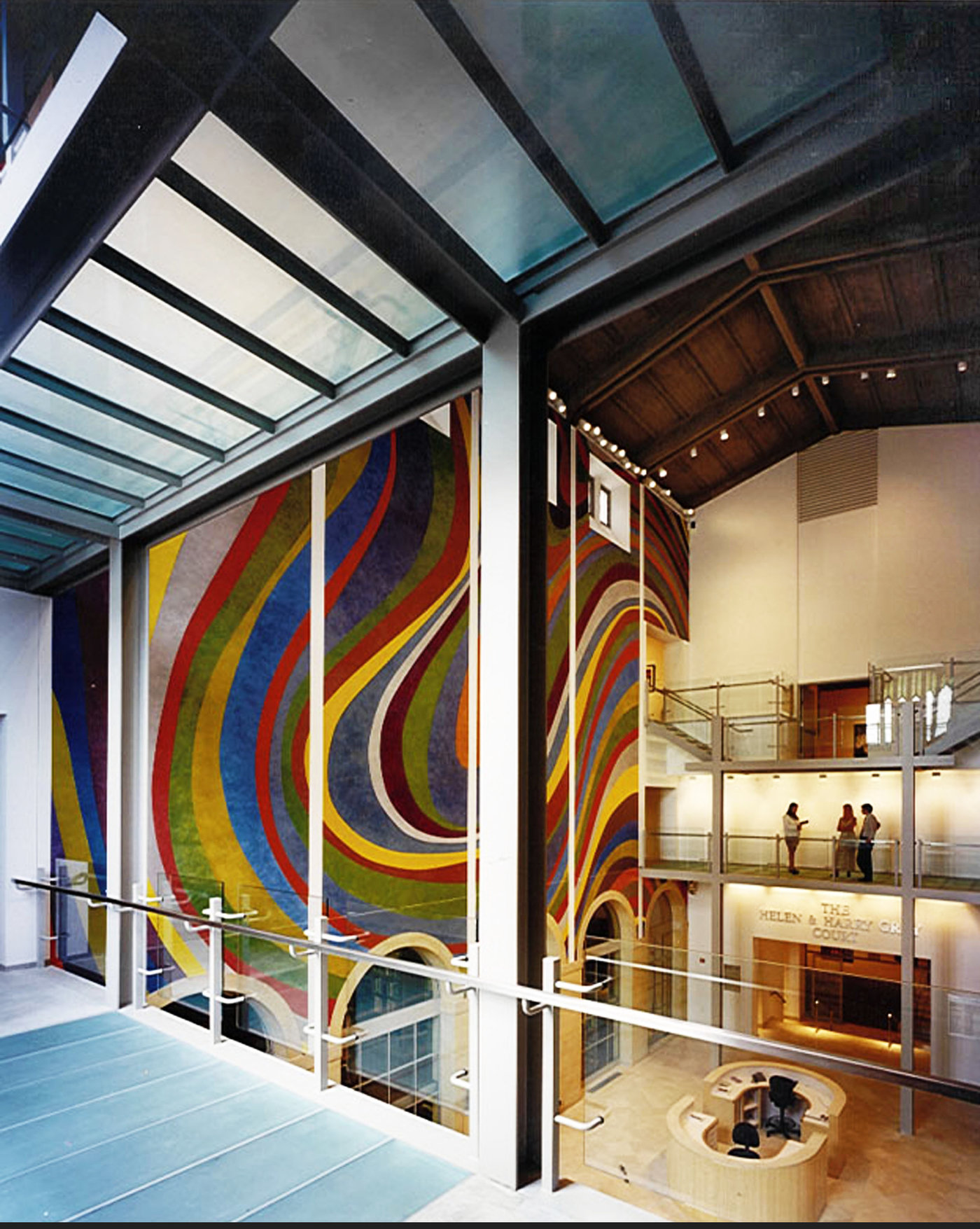 5 tskp wadsworth atheneum the helen and harry gray court glass bridges level 2 above main entrance mural shot 1400 xxx q85