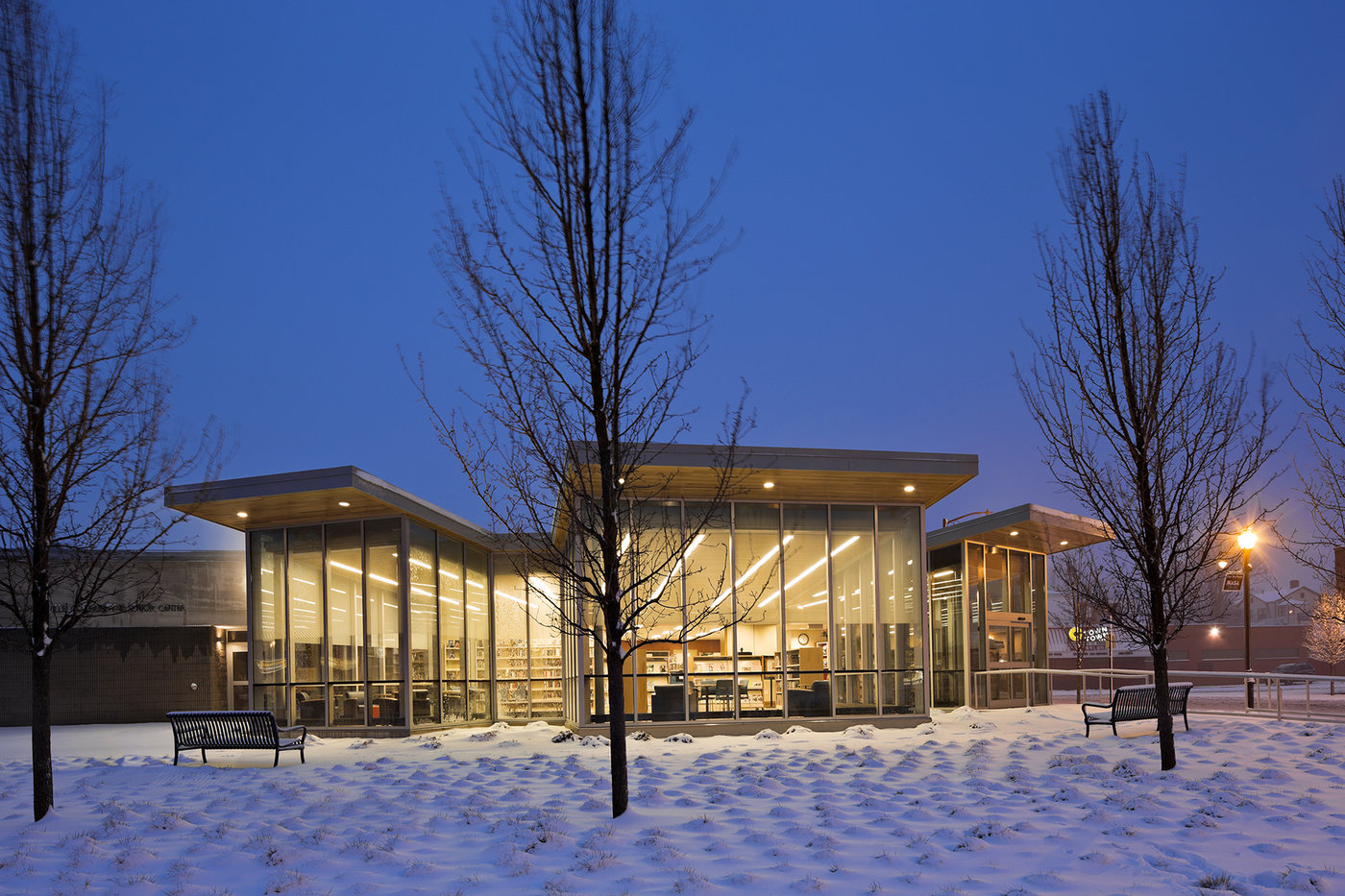 1 tskp hartford public library dwight parkville branch exterior detail winter night lighting entrance1 1400 xxx q85