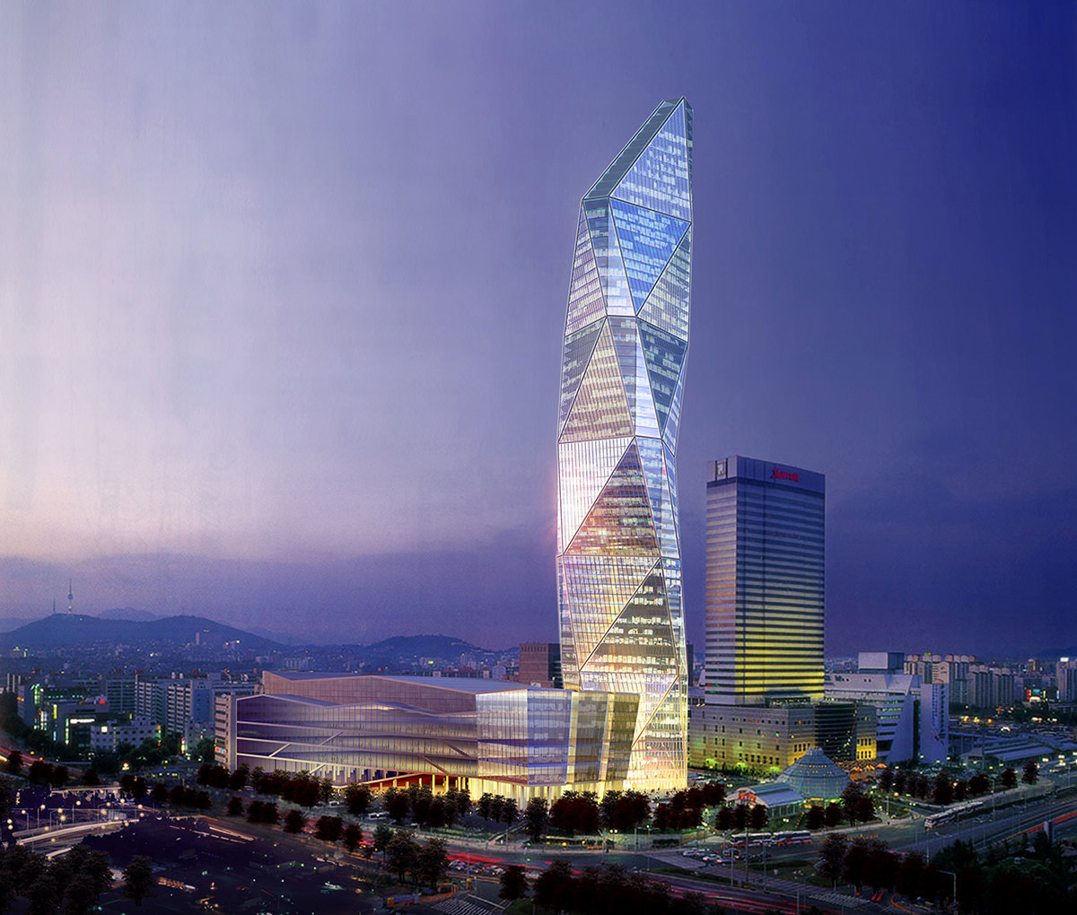 6 tskp central city company central city phase ii exterior rendering night time lighting and traffic 1400 xxx q85